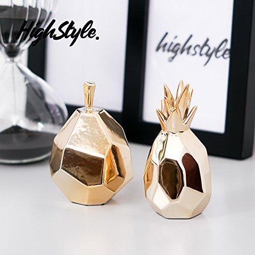 (QARYYQ Scandinavian Van Yeer Metallic Cuff System Facade Geometric Fruit Home Accessories Ceramic Jewelry 1 Pair Crafts)