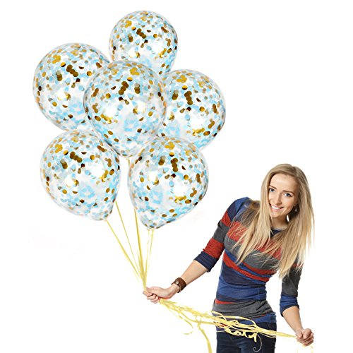 Treasures Gifted Baby Shower Boy Balloons for Gender Reveal 12 Inch Clear Latex Ornaments with White Gold and Blue Confetti Decorations for Birthday Party or Wedding