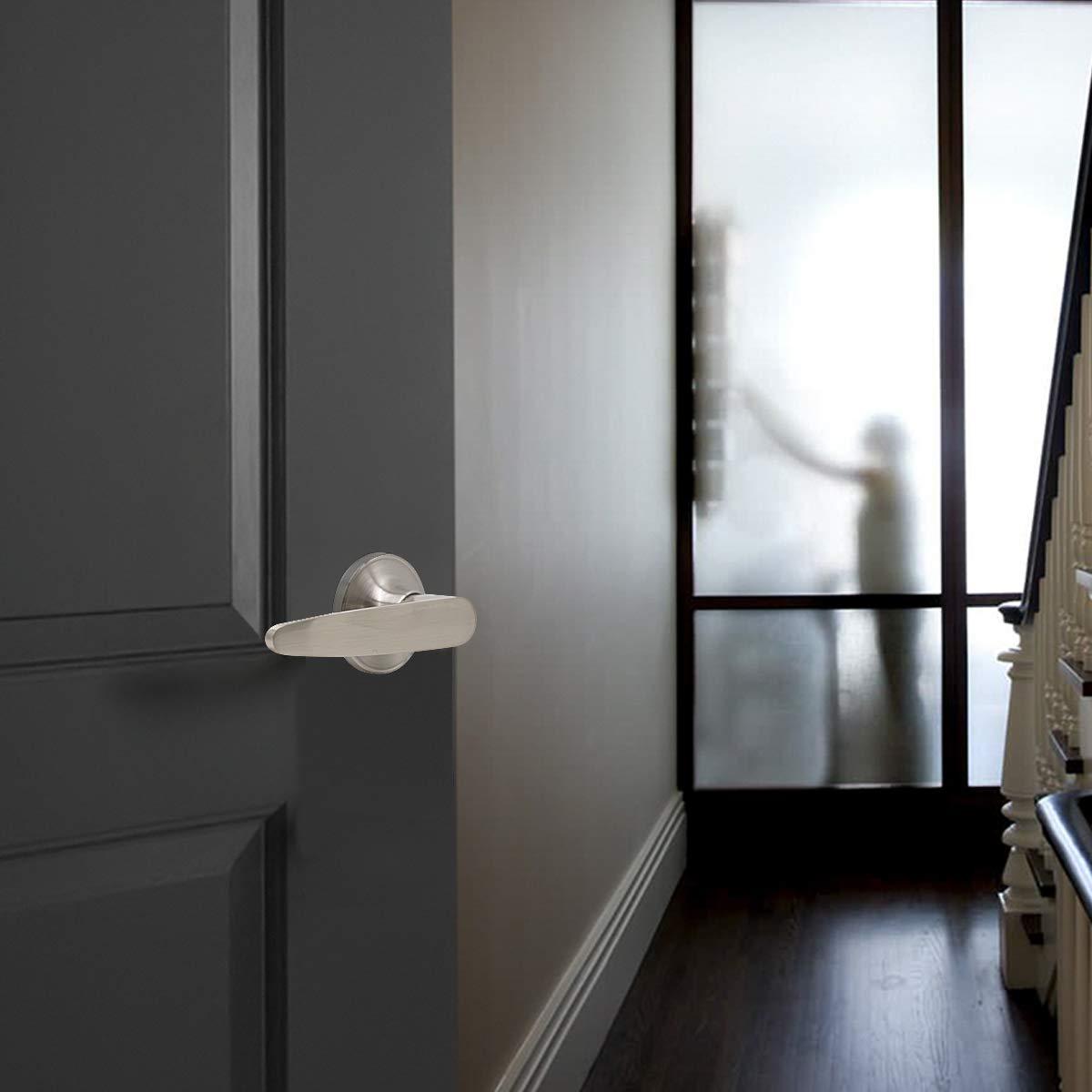 6 Pack Probrico Wave Style Lever Handle Passage Hall and Closet Leverset Lockset,Brushed Satin Nickel Finish