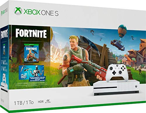 Microsoft Xbox One S 1TB Fortnite Bundle with 4K Ultra HD Blu-ray: 2000 V-Bucks, Epic Eon Cosmetic Set, 1-Month Xbox Live Gold and Game Pass, Xbox One S 1TB Console with Wireless Controller