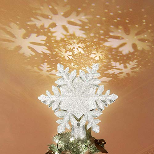 KINGWILL Christmas Tree Toppers, 2-in-1 Silver Glittered Lighted Tree Topper with Snowflake Projector, Indoor Night Light Projector for Christmas Nursery Bedroom Holiday Decoration (Christmas Tree Elegant)