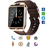 Smart Watch, CanMixs DZ09 Bluetooth 4.0 Mutifunctional Wristwatch with Camera Pedometer Stopwatch Message GSM Music Player Calendar and SIM Card Inserted,Sync Android iOS (Golden)