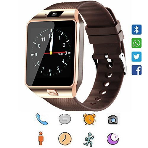 Smart Watch, CanMixs DZ09 Bluetooth 4.0 Mutifunctional Wristwatch with Camera Pedometer Stopwatch Message GSM Music Player Calendar and SIM Card Inserted,Sync Android iOS (Golden) by CanMixs