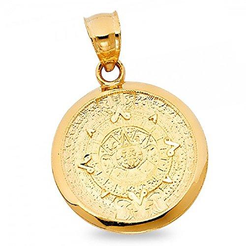 14k Yellow Gold Mayan Calendario Azteca Pendant Sun Calendar Pewtar Aztec Charm Solid 21 x 21 mm