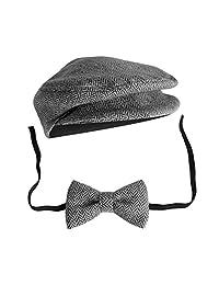 Elegant Gentleman Style Newborn Baby Boys Photography Cap Hat Bow Tie Props Costume Clothing Headdress Accessories Dark Grey