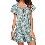 Shusuen Women's Plus Size Short Button-Front Crinkle Dress Floral Print Flowy Party Dress
