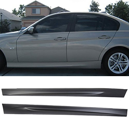 Side Skirts Fits 2006-2011 BMW E90 E91 | 3-Series Sedan M-Tech Msport M3 Style Side Skirt Body kit Pair PP by IKON MOTORSPORTS | 2007 2008 2009 2010 ()