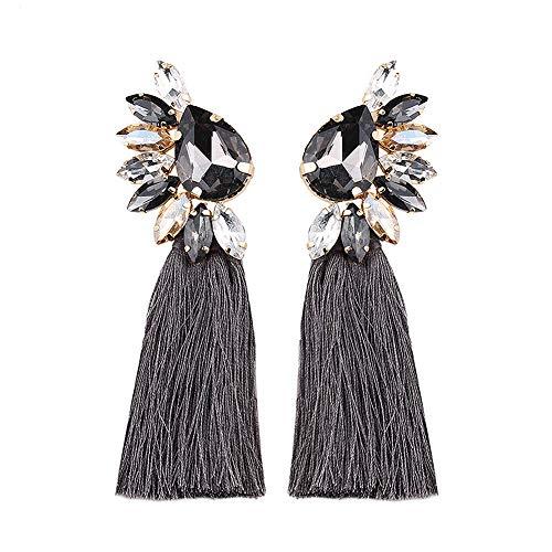 BEST LADY Crystal Tassel Earrings for Women - Statement Colorful Figure Fringe Dangle Earrings for Women, Idea Gift for Sister, Wife and Friends (Grey)