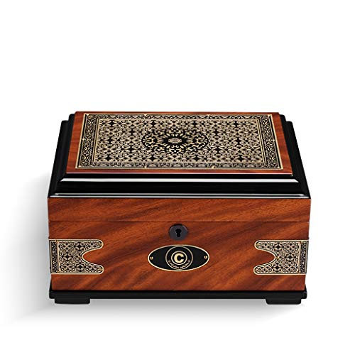 Hai Yan Cigar Humidors - Cigar Box Cigars Moisturizing Alcohol Box European Vintage Print Cedar Wood Large Capacity Size: 395x220x158mm Cigar Storage Box