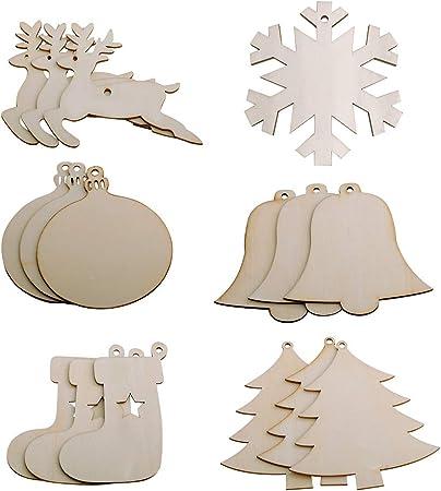 10 Stücke Nette Holz Schneeflocke Weihnachten Hochzeit Baum Hängende