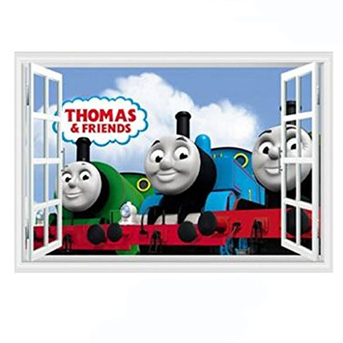 Thomas Room Decor - Fangeplus R DIY Removable Thomas and Friends Small Train 3D False Window Art Mural Vinyl Waterproof Wall Stickers Kids Room Decor Nursery Decal Sticker Wallpaper 23.6''x35.4''