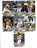 2017 Topps Oakland Athletics Complete Master Team Set of 36 Cards (Series 1, 2, Update) with Jake Smolinski(#11), Ryon Healy(#53), Marcus Semien(#97), Jesse Hahn(#140), Chad Pinder(#146), Sean Doolittle(#157), Sonny Gray(#177), Sean Manaea(#187), Liam Hendriks(#262), Khris Davis(#291), Mark Canha(#369), Adam Rosales(#377), John Axford(#403), Stephen Vogt(#406), Santiago Casilla(#421), Jharel Cotton(#451), Alejandro De Aza(#460), Bruce Maxwell(#461), Matt Olson(#476), plus more