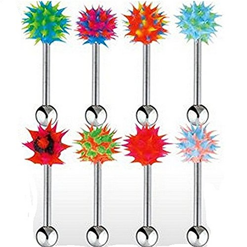 Stainless Steel Barbell with Black/Green/Pink UV Reactive Silicone Spiky Koosh (Koosh Barbell)