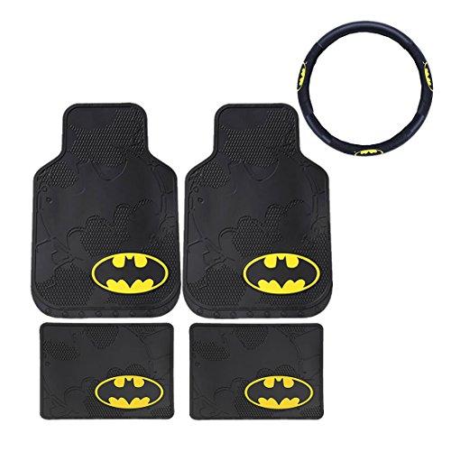 5pc New DC Comic Batman Front & Rear Rubber Floor Mats & Steering Wheel Cover (Rubber Rear Wheels)