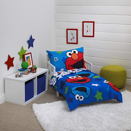 4 Piece Boys Blue Sesame Street Toddler Bedding, Star Toddler Bedspread Set Elmo And The Cookie Monster Reversible Toddler Set Tv Series Characters Red Green White Multi Colored, Polyester