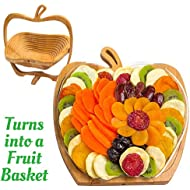 Dried Fruit Gift Basket - Healthy Gourmet Food - Vegan, Kosher, Gluten-Free Gift Box - Apple Tray, Deluxe Multi-Functional Foldable Tray, Trivet and Fruit Basket - Easter, Birthday, Sympathy, Holiday