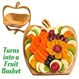 Dried Fruit Gift Basket - Healthy Gourmet Food - Vegan, Kosher, Gluten-Free Gift Box - Apple Tray, Deluxe Multi-Functional Foldable Tray, Trivet and Fruit Basket - Birthday, Sympathy, Holiday
