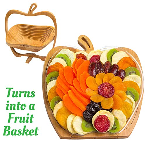 - Dried Fruit Gift Basket - Healthy Gourmet Food - Vegan, Kosher, Gluten-Free Gift Box - Apple Tray, Deluxe Multi-Functional Foldable Tray, Trivet and Fruit Basket - Birthday, Sympathy, Holiday
