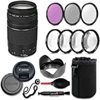 Canon EF 75-300mm f/4-5.6 III Lens Deluxe Accessory Bundle includes High Definition Filters, Macro Close Up Kit, Lens Pouch, Tulip Lens Hood, Lens Caps and More....