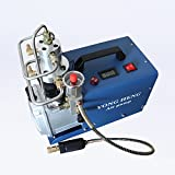 Adjustable High Pressure Electric Air Compressor Pump Auto-stop 110V 300BAR 30MPA 4500PSI 50L/Min Inflation Bottle PCP Inflator Pneumatic Airgun Scuba Rifle (Gold) (110V 60HZ)