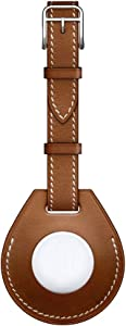 Hspcam Luxurious Shockproof Protective Case for Apple AirTag Leather Hangable Key Ring Luggage Tag Bag Charm Loop (Brown (Luggage Tag))