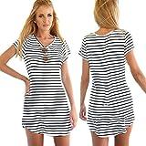 BingYELH Striped Dress Sexy Women Crew Neck Short Sleeve Loose T-Shirt Mini Dress Sea Soul Swallowtail Dress (S, White)