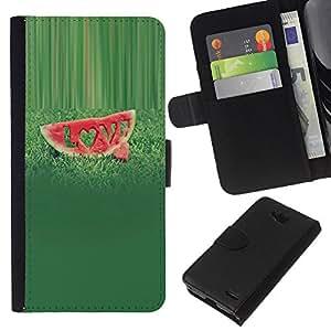 KLONGSHOP // Tirón de la caja Cartera de cuero con ranuras para tarjetas - Frutas Macro Sandía Amor - LG OPTIMUS L90 //