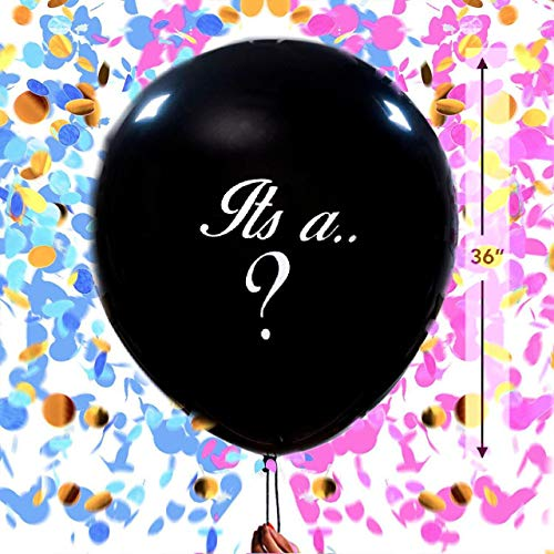 36inch Gender Reveal Balloon - Giant Black Latex Balloons in GiftBox with Pink and Blue Heart Shape Confetti Pregnancy Announcement Gender Reveal Party Supplies Decoration Kit for Baby Shower ()