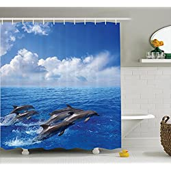 Ambesonne Sea Animals Decor Shower Curtain Set, Dolphins Jumping in Clear Sea and Fluffy Clouds in The Sky Marine Life Photograph, Bathroom Accessories, 75 Inches Long, Blue White