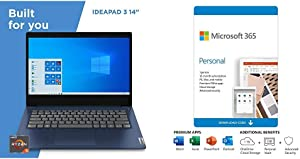 "Lenovo IdeaPad 3 14"" Laptop, 14.0"", Abyss Blue Plus Microsoft 365 Personal 12 Month, Auto-Renewing Subscription"