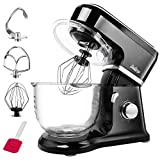 Betitay Automatic Stand Mixer,6-Speed Bowl Mixer 500W Standing Mixer with Pulse Setting,Visible 4.0 QT Glass Mixing Bowl,Dough Hook,Egg Whisk,Flat Beater(Black)