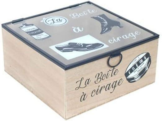 CAPRILO. Caja Limpia Zapatos Decorativa Conde Madera y Cristal la Boité a Cirage. Zapato. Cajas Multiusos. Regalos Originales. Decoración Hogar. 9.5 x 20 x 20 cm.: Amazon.es: Hogar