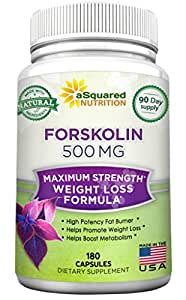 100% Pure Forskolin 500mg Max Strength - 180 Capsules, Forskolin Extract Supplement for Weight Loss Fuel, Coleus Forskohlii Root 20% Forskolin Diet Pills, Belly Buster Fat Burner 2x Slim Trim Lose