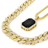 14k Gold Plated Hip Hop Fully CZ 15mm Cuban Chain & Iced Black Ruby w/ 3mm 24'Franco Chain Set