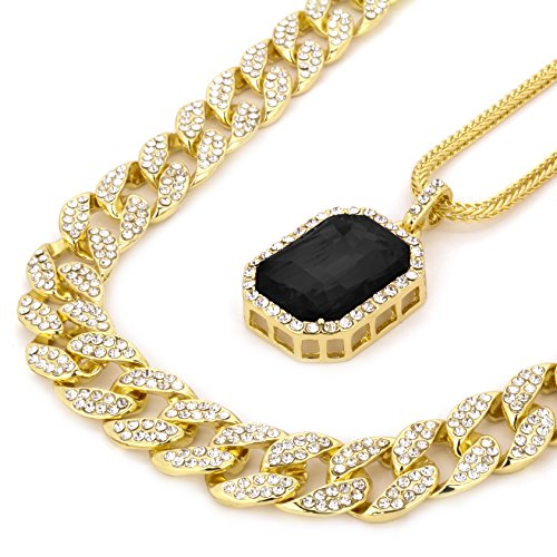 14k Gold Plated Hip Hop Fully CZ 15mm Cuban Chain & Iced Black Ruby w/ 3mm 24