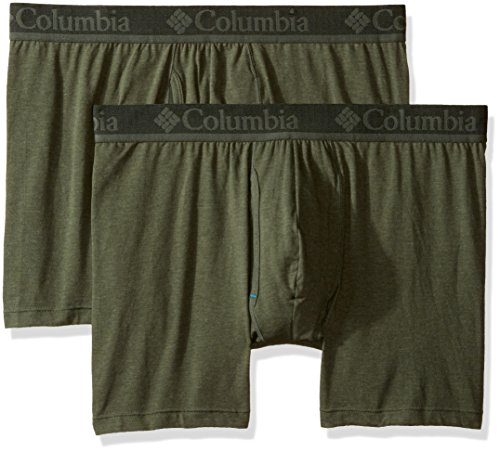 Columbia Men's 2-Pack Performance Cotton Stretch Boxer Brief, Dusty Olive/Green, - Antimicrobial Briefs
