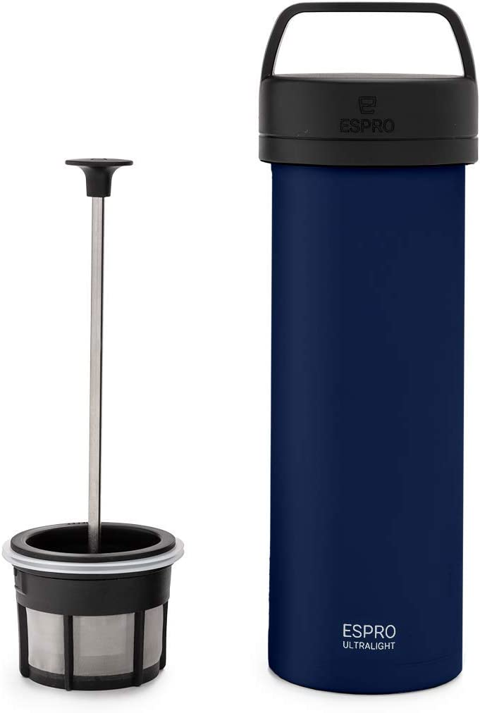 ESPRO P0 Ultralight Double Walled Stainless Steel Vacuum Insulated Travel Coffee French Press, 16 Ounce, Blue