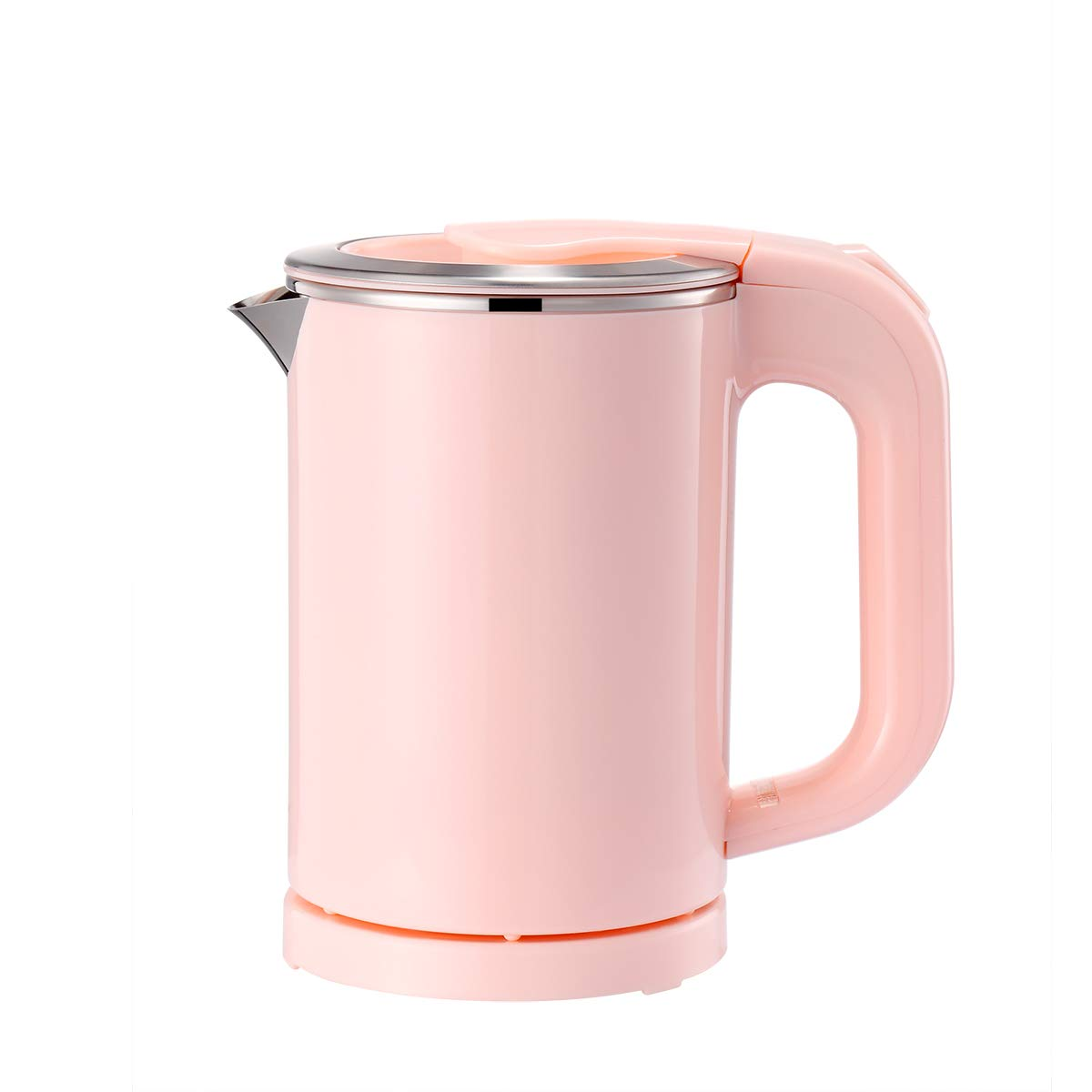 BonNoces Portable Electric Kettle - 0.5L Small Stainless Steel Travel Kettle - Quiet Fast Boil & Cool Touch - Perfect for Traveling Boiling Water, Coffee, Tea (Pink)