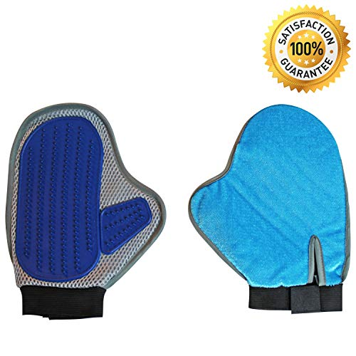 Zsportz Pet Grooming Glove - 2-in-1 Pet Hair Remover Mitt and De-Shedding Tool - Perfect for Large and Small Dogs, Cats, and Other Animals - Removes Animal Hair from Household Furniture