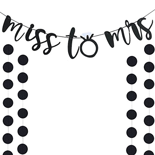 Black Glittery Miss to Mrs Banner and Black Glittery Circle Dots Garland(25pcs Circle Dots) -Bachelorette Engagement Wedding Party Home Decor Decoration Supplies by LeeSky