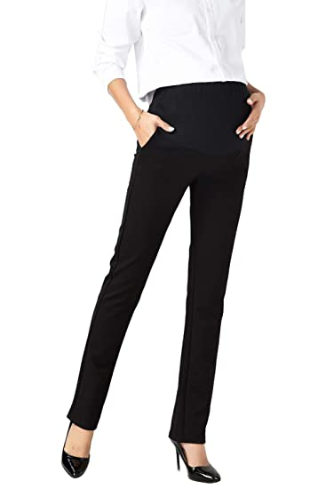 302a0f6690e36 Women Maternity Dress Work Pants Career Office Ove Belly Straight Trousers  at Amazon Women's Clothing store: