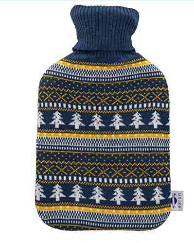🥇 Bolsa de agua caliente axion – incluye funda/forro de algodón azul con estampado