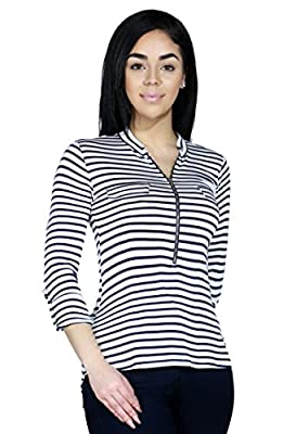 Women Lightweight Striped Tunic Back Zip Up Long Sleeve Roll Up Shirt Top