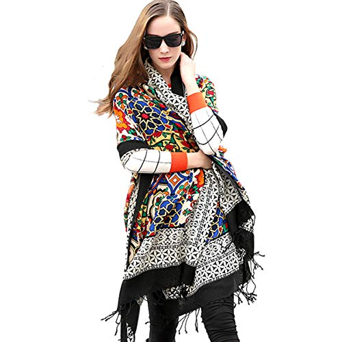 DANA XU 100% Pure Wool Women Winter Large Scarf Pashmina ()