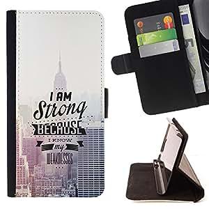 BullDog Case - FOR/HTC One M7 / - / I Am Strong Because I Know /- Monedero de cuero de la PU Llevar cubierta de la caja con el ID Credit Card Slots Flip funda de cuer