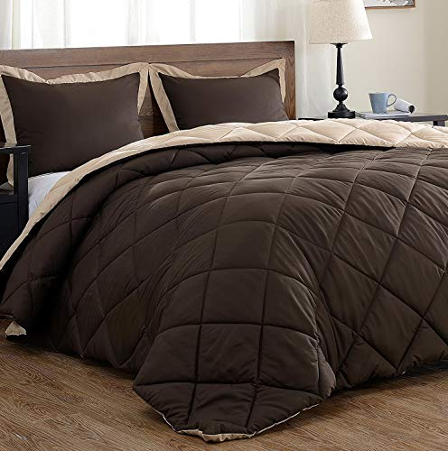 Hemau Premium New Soft Lightweight Solid Comforter Set (Twin) with 1 Pillow Sham - 2-Piece Set - Brown and Tan - Hypoallergenic Down Alternative Reversible Comforter | Style 503192466