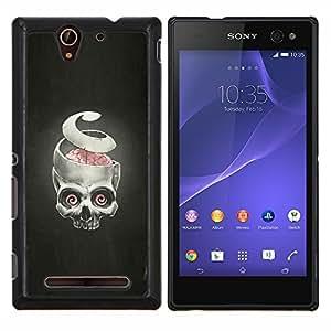 YiPhone /// Prima de resorte delgada de la cubierta del caso de Shell Armor - Puzzles y cráneo - Goth - Sony Xperia C3