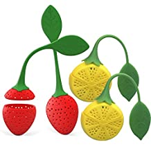 Tea Infusers - Peyou Set of 4 Cute Strawberry&Lemon Design Silicone Loose Leaf Tea Infusers Filters Strainers & Steepers, Perfect for Loose Leaf or Herbal Tea, Mother's Day Gift