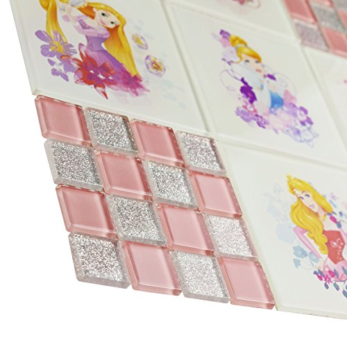 """80%OFF Disney WDSPRS43 Disney WDSPRS43 Princesses Pink Glass Mosaic Wall Tile, 11.75"""" x 11.75"""", White/Pink/Blue/Purple/Silver/Yellow/Green/Red"""