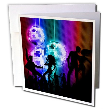 3dRose Funky Retro Disco Ball Dance Party from the 80s - Greeting Cards, 6 x 6 inches, set of 12 -